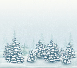 Forest winter landscape illustration