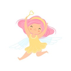 Lovely Little Winged Fairy with Pink Hair, Beautiful Girl Character in Fairy Costume with Magic Wand Vector Illustration