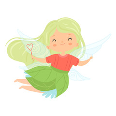 Sweet Little Winged Fairy with Green Long Hair, Cute Flying Girl Character in Fairy Costume with Magic Wand Vector Illustration