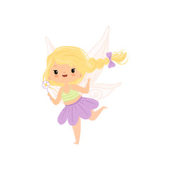 Lovely Little Winged Fairy with Blonde Hair, Beautiful Flying Girl Character in Fairy Costume with Magic Wand Vector Illustration