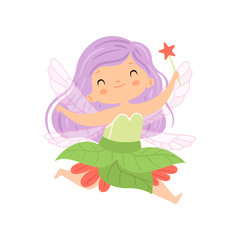 Sweet Little Winged Fairy Flying with Lilac Hair and Magic Wand, Beautiful Redhead Girl Character in Fairy Costume Vector Illustration