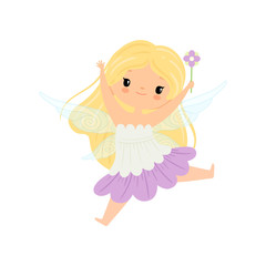 Cute Blonde Little Winged Fairy, Beautiful Flying Girl Character in Fairy Costume with Magic Wand Vector Illustration
