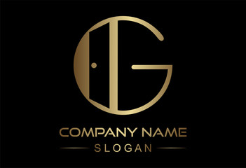 logo letter g door icon in gold color