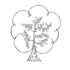 decorative tree. hand-drawn vector illustration on white background