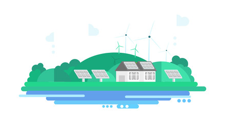 Eco Energy Landscape. Vector Illustration