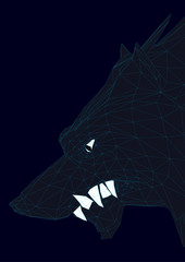 Head of a polygonal black wolf. 3D. Vector illustration