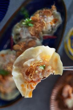 Half eaten shrimp dumpling