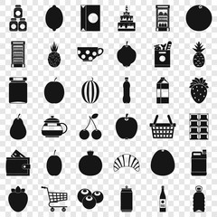 Food and drink icons set. Simple style of 36 food and drink vector icons for web for any design