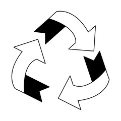 Recycle reduce reuse symbol in black and white
