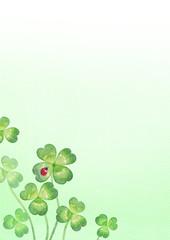 背景:四つ葉のクローバーとてんとう虫(3)