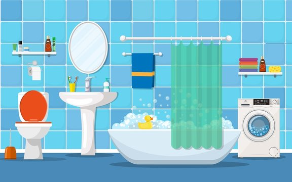 modern bathroom interior with furniture. Home Interior Objects - bath, square mirror, wash basin. Vector illustration in flat style