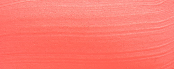 Paint texture on paper living coral. Banner with color of the year 2019 - Living Coral. Place for text. Image