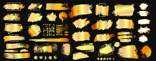 Set of golden grunge hand drawn rough box torn shapes. Edge foil frames. Distressed brush strokes, blots, borders and gold dividers. Vector illustration. Isolated on black background.
