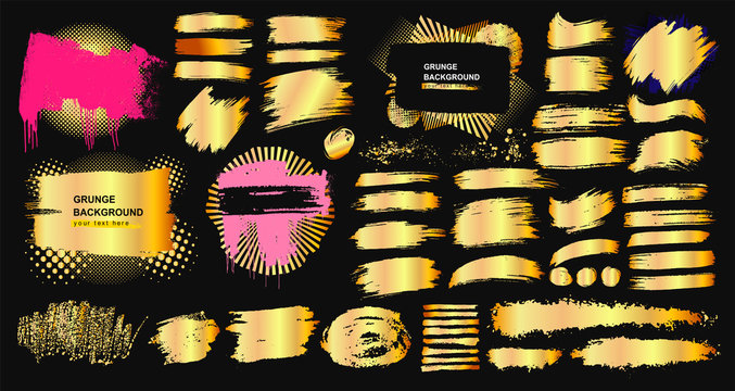 Set of golden grunge hand drawn rough box torn shapes. Edge foil frames. Distressed brush strokes, blots, borders and gold dividers. Vector illustration. Isolated on black background_a