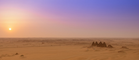 View of the pyramids of Karima, Sudan in the setting sun, sunset