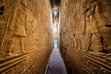 Interior of the ancient egyptian Temple of Horus at Edfu, Egypt.