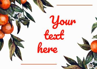 watercolor realistic invitation card template - blooming orange