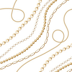 Gold chain seamless on white background. Fashion illustration. Seamless pattern abstract design. Vector