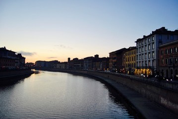tuscany river during sunset