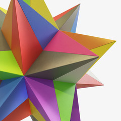 abstract colored origami star cement concrete 3D illustration