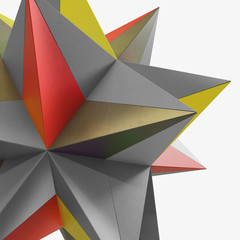 abstract origami star cement concrete 3D illustration
