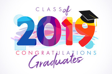 Class of 20 19 year graduation banner, awards concept. T-shirt idea, holiday coloured invitation card, bright embem. Isolated numbers, abstract graphic design template, brush strokes white background
