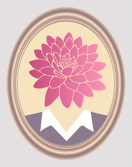 lotus flower head character portrait oval frame retro pink