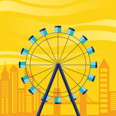 wheel panoramic with cityscape scene