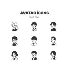 People avatar glyph icons design