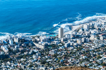 Aerial view of the shore of Sea Point in Cape Town, South Africa