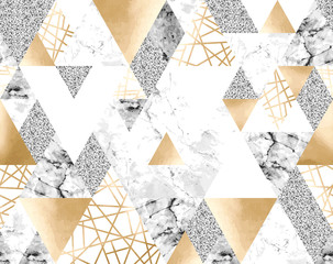 Seamless geometric pattern with gold metallic lines, silver glitter, gray and marble triangles
