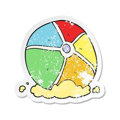 retro distressed sticker of a cartoon beach ball