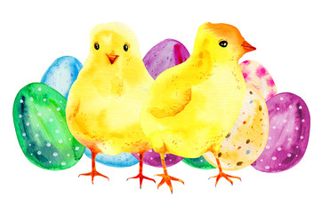Two yellow baby chickens with painted easter eggs. Hand drawn watercolor cartoon sketch illustration