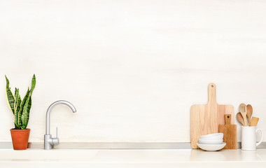 Kitchen table top with sink and utensils