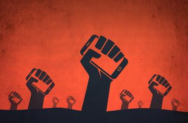 Hand smartphone digital revolution protests