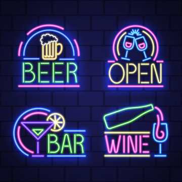 Set of night neon bar advensing. Bar badges in neon style, light banner, neon sign board. Vector
