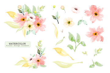 Set of watercolor design elements, hand painted flower branch.