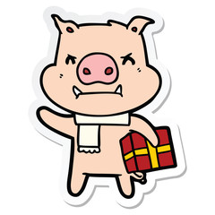 sticker of a angry cartoon pig with christmas gift
