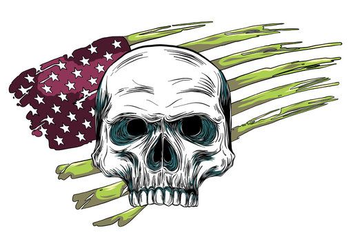 skull design with colored american flag illustration