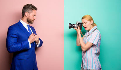 Businessman enjoy star moment. Paparazzi concept. Photosession for business magazine. Handsome businessman posing camera. Nice shot. Fame and success. Photographer taking photo successful businessman