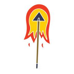 quirky hand drawn cartoon burning arrow