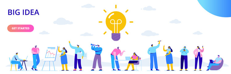 Flat business people with big Light Bulb Idea. People working together on new Project.  Creativity, Brainstorming, Innovation concept.  Flat Vector illustration. Fototapete