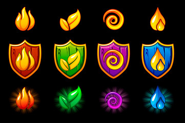 Four elements nature icons, wooden Shield set. Wind, fire, water, earth symbol