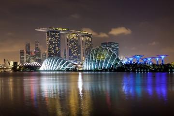 SINGAPORE - Mar 26, 2015: Singapore city Skyline illuminated at night. Version 2.