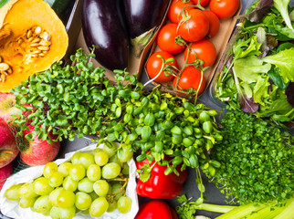 Raw vegetables and fruits background. Healthy organic food concept