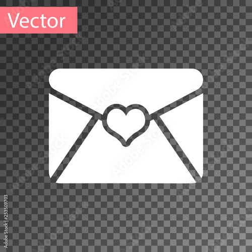 White Envelope with Valentine heart icon isolated on