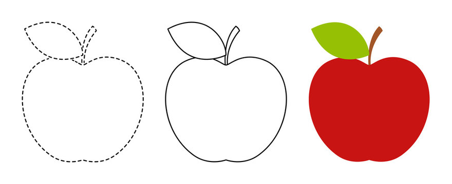 Apple to be colored and trace line educational game for kids