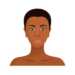 African woman. Vector face of a black girl isolated on white background. Dark-skinned beauty.