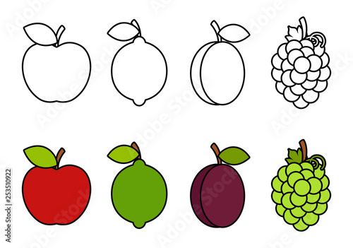 Coloring book with fruits, coloring for kids\