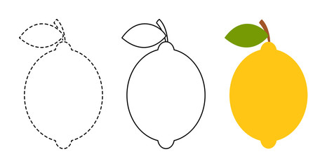 Lemon to be colored and trace line educational game for kids